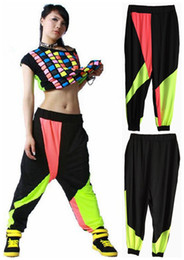 Wholesale Neon Harem Pants - New fashion Brand Harem Hip Hop Dance Pants Sweatpants Costumes female stage performance wear harem Neon jazz sports trousers