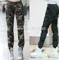 Wholesale Womens Army Green Pants - 2015 Winter New Womens Fashion Casual Loose Camouflage Army Green Outdoors Cargo Pants Elastic Waist 100% Cotton Sport Jogging