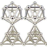 Wholesale Ball Rods - Free Shipping 36pcs D4mm*L24mm Nickel Bucky bars Magnets Bars Rods+27pcs D8mm Steel Ball with Metal Box Neocube Buckyball Puzzle