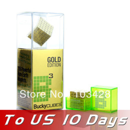 Wholesale 216 Buckyballs - Freeshipping- 4mm*216 Gold Bucky cubes Magnetic Blocks Cubes Building Toys Original Buckyballs Package TO US ONLY 10 DAYS!