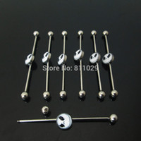 Wholesale Industrial Barbells - scaffold barbells Charm 10pcs surgical Stainless Steel nightmare before christmas industrial barbell piercing free shipping