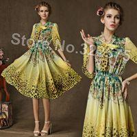 Wholesale Chiffon Plus Size Day Dresses - Hot Women 2015 Summer Spring Fashion Slim Casual Leopard Floral Print Chiffon Short Day Dresses Girls Plus size Vestidos SDL142