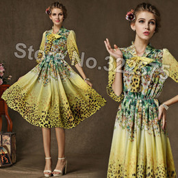 Wholesale Women Day Dresses Short Sleeve - Hot Women 2015 Summer Spring Fashion Slim Casual Leopard Floral Print Chiffon Short Day Dresses Girls Plus size Vestidos SDL142