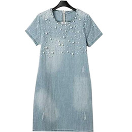 Wholesale women denim dresses size xl - Yearhappy 2015 Women Casual Denim Dresses Plus Size O-neck Short Sleeve Summer Dress O Neck Washed Beaded Elegant Vestidos