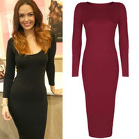 Wholesale Xxl Black Mid Calf Dress - Bodycon long sleeve Dress 2015 new summer party sexy black and red long dress plus size women clothing vestido de festa XXL S41