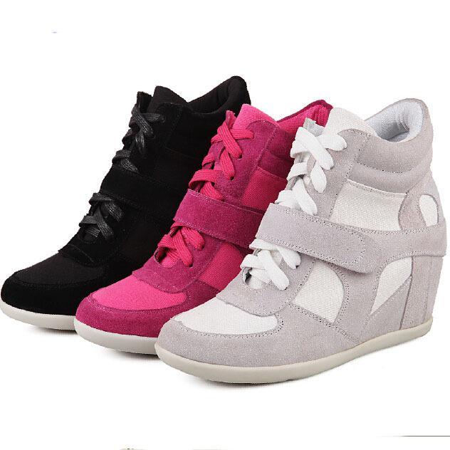e311d4f845d46 Acheter 2015 Femmes Sneakers Toile Wedge Sneakers Pour Les Femmes Chaussures  Respirantes Femme Sneakers Femme Chaussures De Sport High Top Sneakers De  ...