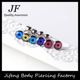 Wholesale Tongue Piercing Logo - Free Shipping EYE Logo Tongue Ring Tongue Bar Stainless Steel Body Piercing Punk Style Jewelry Welcome Customer Logo SD013