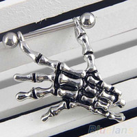 14G Skeleton Skull Hand Shield Nipple Bar Sexy Ring Punk Body Jewellery 1FZ1