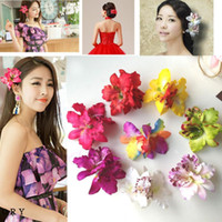Wholesale Baby Orchids - wholesale Hot Sale Fashion Baby Girls Hair Accessories Moth Orchid Flower Silk Decoration Flower With Clip Headbands 10 Colors