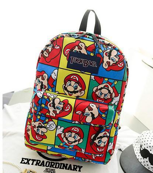 Wholesale-Fashion vintage Harajuku owl women sport zipper backpack,super mario children cartoon school bag,printing canvas mochilas