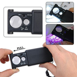 Wholesale Currency Detecting Magnifier - Free shipping High Quality 30X 60X LED Currency Detecting Detector Jewellery Loupe Identifying Magnifier