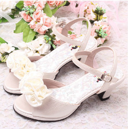 Wholesale Girls Wedding Shoes Ivory - Discount Flower Girls Ivory Bridal Wedding Sandals Summer Kids Shoes for Children Kids Heels