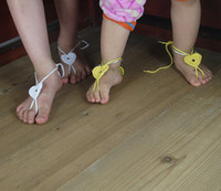 Wholesale Baby Sandles - Cotton 100% Handmade Crochet Baby Heart Barefoot sandals, Baby shoes, barefoot sandles
