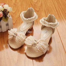 Wholesale Kids Dress Shoes Beige - Brand new SummerChildren Shoes princess girls Sandals little Girls Pearl flower Sandals Dress Shoes Beige And Pink Kids Sandals