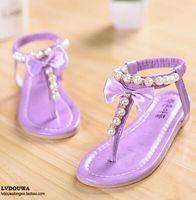 Wholesale Rubber Flip Flop Bow - 2015 Summer Kids Children's single shoes Bow Girls Princess sandals shoes Pearl Flip Flops toe sandals baby Toddler shoes C-185