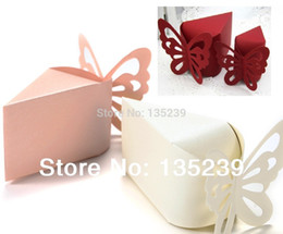 Wholesale Red Favor Boxes For Weddings - 60PCS Butterfly Favor Gift Candy Boxes Cake Style for Wedding Party Baby Shower Ivory ,pink & red