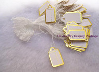 Wholesale Tags Strings - Wholesale-100 pcs Jewelry Strung Pricing Price Tags with String Gold Merchandise Cloth Label,FREE SHIPING