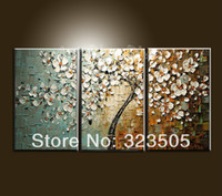 Wholesale Cherry Blossom Canvas Painting - 3 piece canvas wall art Modern abstract wall panel textured white cherry blossom oil painting set home decoration free shipping