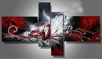Wholesale Black White Painting Set - Handmade oil painting on canvas red black white home decoration Oil Painting Modern abstract 4 piece set wall art picture Gifts