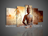 Wholesale Hand Painted Religious Art - Big size Hand-painted modern home wall art living room bedroom hall decoration Religious Buddha statue oil painting on canvas
