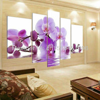 Wholesale Orchids Canvas Oil Painting Sets - Hand Painted Purple Wall Art Water Side Orchid Flower Painting Canvas Oil Landscape Modern Abstract 5 Panel Picture Sets