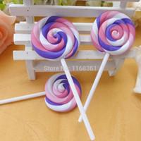 Wholesale wholesale flatback resins - Wholesale-5pcs lot new arrival kawaii DIY Very Hot and Kawaii Resin Flatback Polymer clay lollipop cabochons 43*100mm