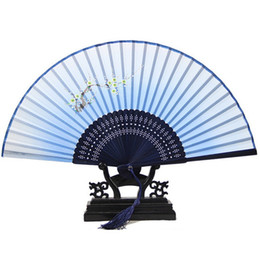 Wholesale-Chinese Vintage Retro Flower Bamboo Silk Print Folding Hand Handheld Fan