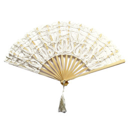 Wholesale Wholesale Ivory Lace Fans - Wholesale-Birthday Decorations Kids Lovely Ivory Lace Hand Fan for Wedding Take Photos Cosplay And Home Decoration White
