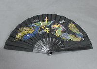 Wholesale Dragon Phoenix - Wholesale-High-quality Chinese Tai Chi Martial Arts Kung Fu Bamboo Dragon Phoenix Fan Black 13.5""