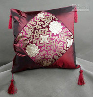 Wholesale Cheap Hotel Pillows - 18 inch Silk Pillow Cases Tassel Chinese style Patchwork Cheap Fashion Jacquard Cushion Cover Decorative Sofa Chair