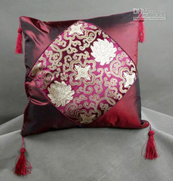 Wholesale Patchwork Sofa Covers - 18 inch Silk Pillow Cases Tassel Chinese style Patchwork Cheap Fashion Jacquard Cushion Cover Decorative Sofa Chair