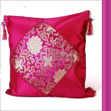 Purple Cushion Covers Sofa Chinese Silk Fabric Splice Tassel Mix