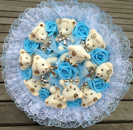Wholesale Teddy Bear Rose Bouquet - Hot Sale Fashion Teddy Toy Cartoon Bear Bouquet. Holiday gift creative simulation rose bouquet. Valentine's Day gift 4 colors