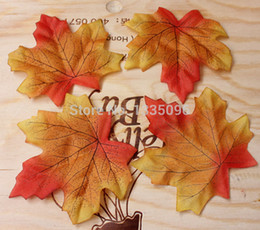 Wholesale Wholesale Silk Maple Leaves - Free shipping (100 PCS lot) 9*10 cm artificial silk maple leaves decorate family garden party