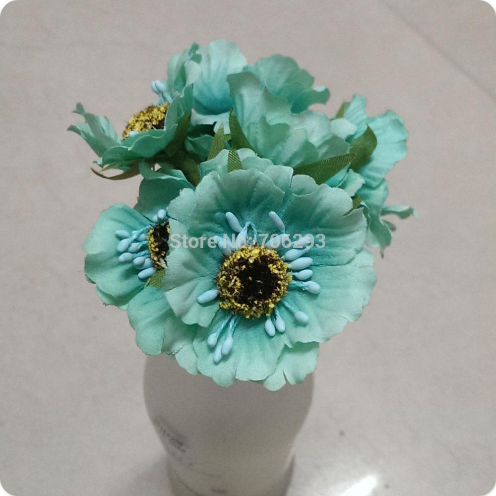 2018 2015 New 5cm Bag Mini Head Blue Color Mulberry Cloth Flower