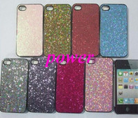 Wholesale Bling Iphone Leather Back - 10pcs Hot sale Glitter hard back case cover bling shining mobile phone case leather stick For iphone 4