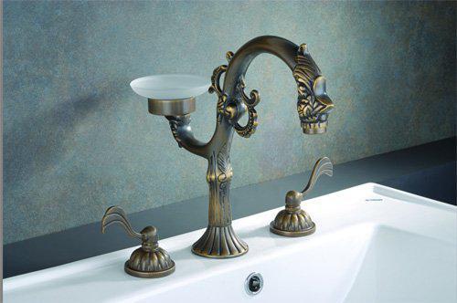 Cheap Bathroom Faucets Single Handle Silver Brass Vessel: 2019 Drop Shipping! Dragon Sculpt Widespread Basin Mixer