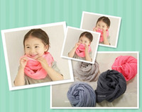 Wholesale Kids Infinity Scarves Wholesale - New Spring Solid Color Plain Girl Boy Baby Infinity Scarf for Kids Viscose Cotton Loop Sarves Cirle Ring 5pcs lot