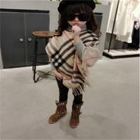 Wholesale Baby Capes Jackets - free shipping Shawl Scarf baby girl Toggle Cape Coat plaid Poncho Jacket Bohemian