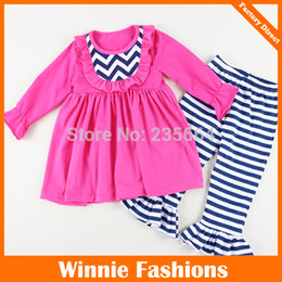 Wholesale Baby Girl Dresses Chevron - New arrival Long Sleeve Cotton Baby Girl pants sets,kids solid ruffled dress chevron bibs & striped ruffled pants sets outfits