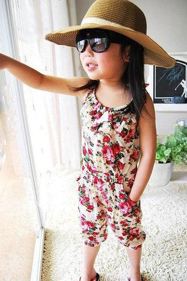 Free Shipping Children Girls Jumpsuit/Girls Toddler Rompers/Short Playsuit/Kids Floral Soft One-piece Clothing Sz2-8Y