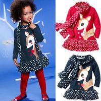 Wholesale Deer Dress Scarf - 349Free shipment sika deer child girl's dot patchwork scarf long-sleeve dress clothing sets