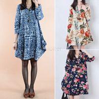Wholesale Animal Print 22 - New Women Autumn Winter Dress Ladies Long Sleeve Dress Women Clothes V-Neck Loose Printed Dress 22