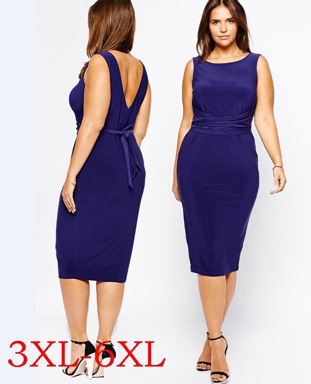 aa6fb435f904 Acquista Sexy Vestiti Dalle Donne 6XL Figura Completa Dress 5XL Estate  Grandi Dimensioni Femminile Abbigliamento 4XL Extrasize Da Donna Senza  Maniche ...