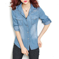 Wholesale Denim Boyfriend Shirt - Women Cotton Boyfriend Lapel Long Sleeve Button Down Denim Jean Shirt Blouse Top Han Fan cotton shirt relaxed joker washed denim shirt