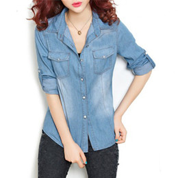 Wholesale Denim Boyfriend Shirt - Women Cotton Boyfriend Lapel Long Sleeve Button Down Denim Jean Shirt Blouse Top