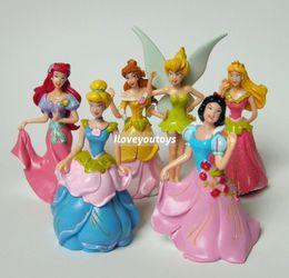 Wholesale Batman Cake Toppers - Wholesale-Wholesale - Cartoon Princess girls Snow White Cinderella Belle Ariel figure figurine cake topper 6pcs lot free shipping