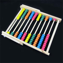 Wholesale Wholesale Childrens Beads - 2015 New HE Delicate Large Wooden Wood Beads Abacus Counting Number Maths Toy Educational Childrens Toy EH