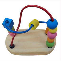 Wholesale Wooden Toys Bead Maze - free shipping Mini rail maze small around beads fancy toy pearl educational wooden toy for baby