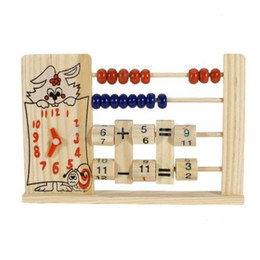 Wholesale Counting Abacus - Wooden Clock Number Maths Aid Counting Calculating Abacus Kids Educational Toy